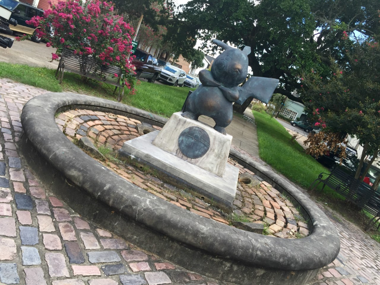 Pikachu statue mysteriously placed in new orleans park - Parking garden district new orleans ...